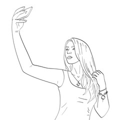 Isolated object coloring, black lines, white background. Young girl model doing selfie. Fashion vector