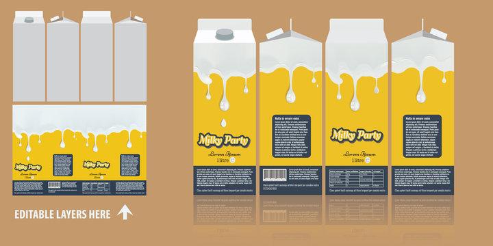 Vector Branding package design. Milky chocolate package box design template. Ready package design for milk drinks.