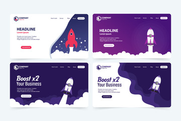 Fototapeta Boost Business Website Landing Page Vector Template Design Concept obraz