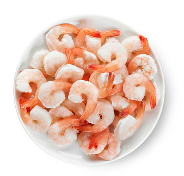 plate of frozen prawns