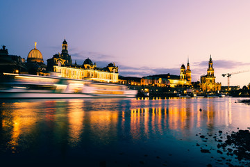 Dresden Old Town architecture with Elbe river embankment at night,  Saxony, Germany.