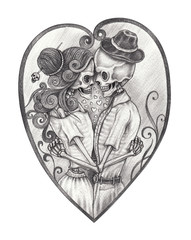 Art Couple Skulls in love Tattoo.Hand pencil drawing on paper.