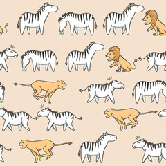 Seamless pattern Cute zebra, tiger and lion cartoon with hand drawn style
