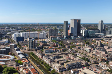 the hague cityscape buildings from above in the netherlands