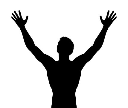 Man Arms Raised Silhouette