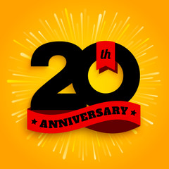 Twenty years anniversary logo with red ribbon, 20th years celebration. Fireworks on yellow background. Vector.