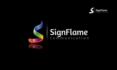 Creative 3 dimensional abstract vector logo design with shinny effect. this object look like flames and letter of S put on black backgr