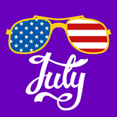 lettering july   glasses  usa flag background flat