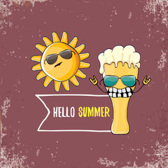vector cartoon funky beer glass character and summer sun isolated on grunge background. Hello summer text and funky beer concept illustration. Funny cartoon smiling friends.