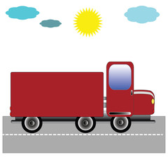 Truck on the road with the sky . Format vector and jpg.