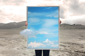 picture frame with sky at desert