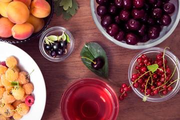 Summer Wellness. Ripe Summer Drink. Summer Berries Food Concept.