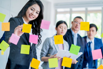 successful business teamwork brainstrom meeting with paper note in meeting room office background
