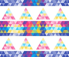 Seamless triangular pattern with multicolored pyramids. Mosaic pattern for your design