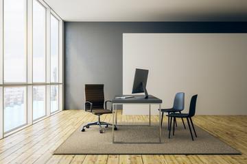 blank white banner in modern office