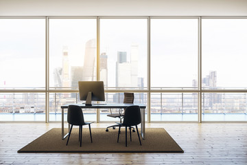 penthouse office with wooden floor