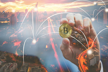 Double exposure of bitcoin and network city
