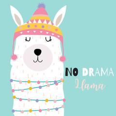 Blue green hand drawn cute card with llama and hat.No drama llama