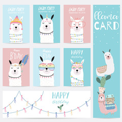 Blue pink hand drawn cute card with llama,glasses and hat