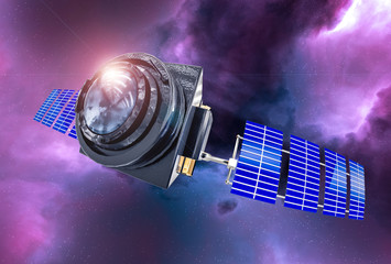 Space Telescope concept 3D rendering in the space purple nebula with lens flare