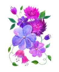 Decorative flower composition in pink and purple colors with leaves. Watercolor hand drawn illustration.
