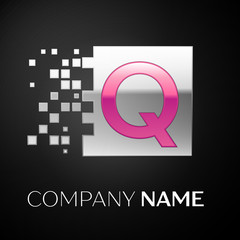 Pink Letter Q logo symbol in the silver colorful square with shattered blocks on black background. Vector template for your design