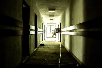 Corridor in the deserted hotel