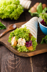 Grilled tortilla with chicken, mayo and tomato ketchu....Grilled tortilla chicken, lettuce, homemade mayo and barbeque sauce