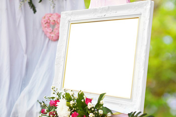 white photo frame in wedding day