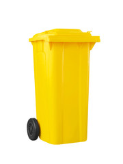 yellow recycle bin isolated on white