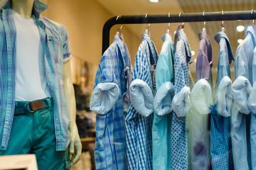 Rack with hangers man male clothes shirt mannequin shop fashion
