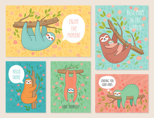 Wall Mural - Set of cards with cute hand drawn sloths hanging on the tree. Lazy animal characters.