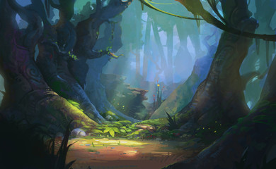 Game Art Fantasy Forest Environment. Digital CG Artwork, Concept Illustration, Realistic Cartoon Style Scene Design Wall mural