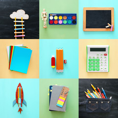 Back to school collage concept. school objects and supply with classroom blackboard.
