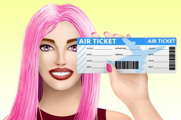 Concept travel, air ticket. Drawn beautiful girl on colourful background. Illustration