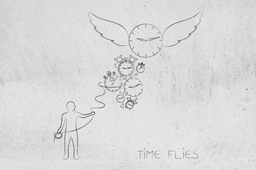 time flies man with lasso trying to catch clocks and a big one with wings going away