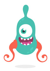 Cute cartoon alien monster with tantacles. Vector illustration