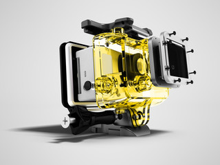Modern yellow camera for extreme relaxation dismantled 3D render on gray background with shadow
