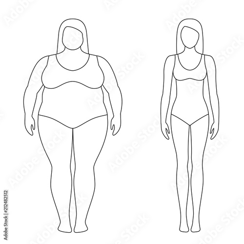 Vector Illustration Of Fat And Slim Woman Silhouettes Weight Loss