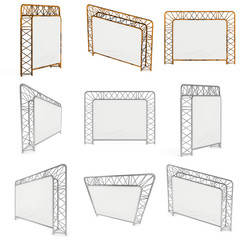 Steel truss girder element banner construction set. 3d render press wall isolated on white