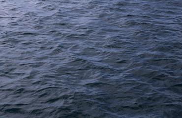 Dark blue Water Texture Pattern at sunset on the sea