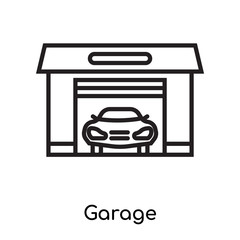 Garage icon vector sign and symbol isolated on white background, Garage logo concept