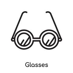 Glasses icon vector sign and symbol isolated on white background, Glasses logo concept