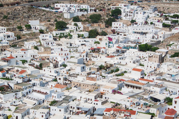 view of lindos city from acropolis on rhodes island
