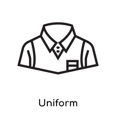 Uniform icon vector sign and symbol isolated on white background, Uniform logo concept