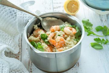 Prawn, fennel and rocket risotto