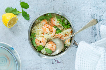Prawn, fennel and rocket risotto - top view