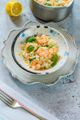 Prawn, fennel and rocket risotto - high angle view