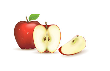 Realistic illustration of a red Apple. Sliced and peeled fruit. Isolated on white background