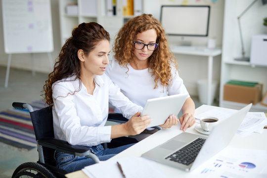 Young woman in wheelchair and her colleague discussing online data by desk in office